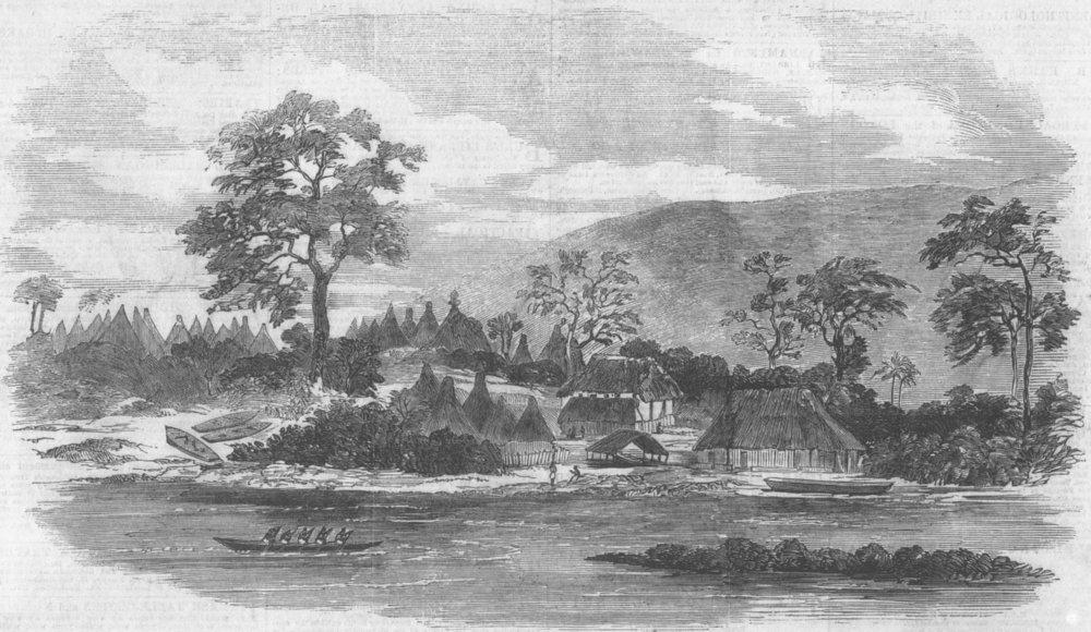 Associate Product LIBERIA. Mandinka Town, Malaghea, Mellicourie River, antique print, 1855