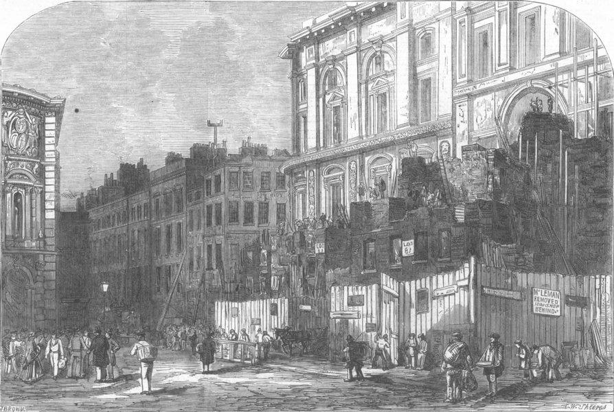 Associate Product LONDON. Old & new building, Threadneedle-Street, antique print, 1855