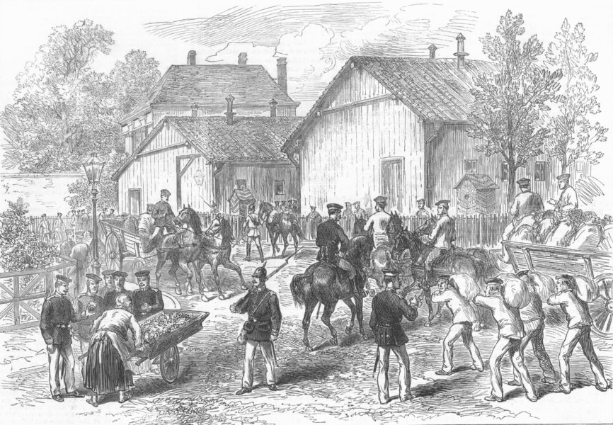 Associate Product FRANCE. Barracks of German Troops, Rheims, antique print, 1872