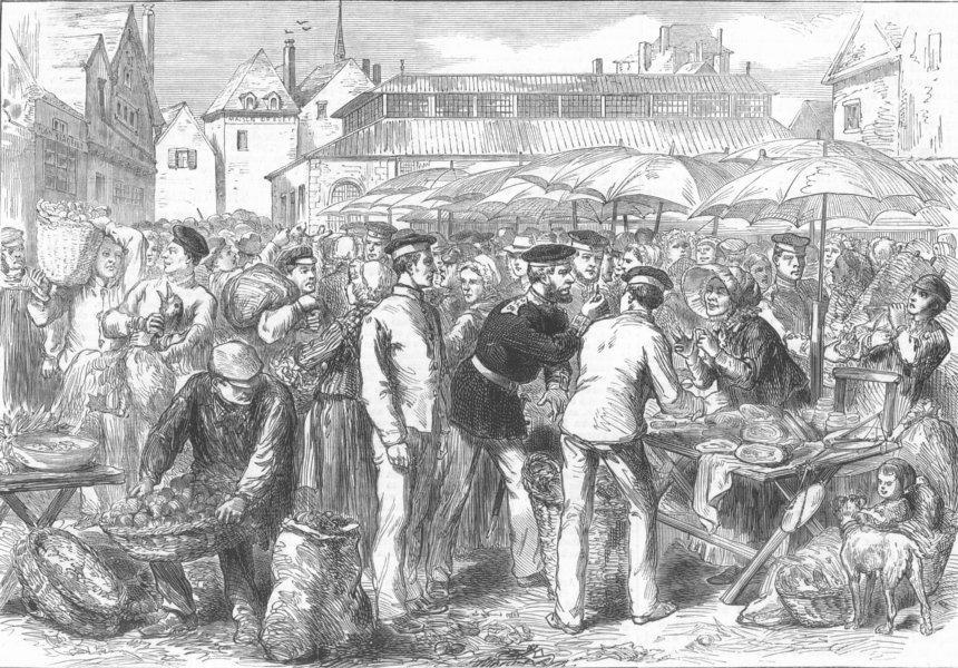 Associate Product FRANCE. German Soldiers Marketing, Rheims, antique print, 1872