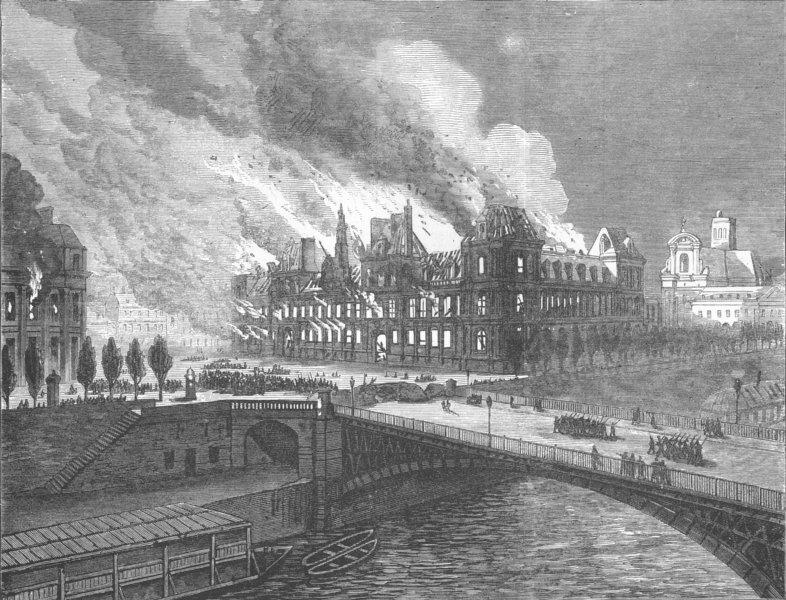 Associate Product FRANCE. Burning of Hotel De Ville, Paris, antique print, 1871