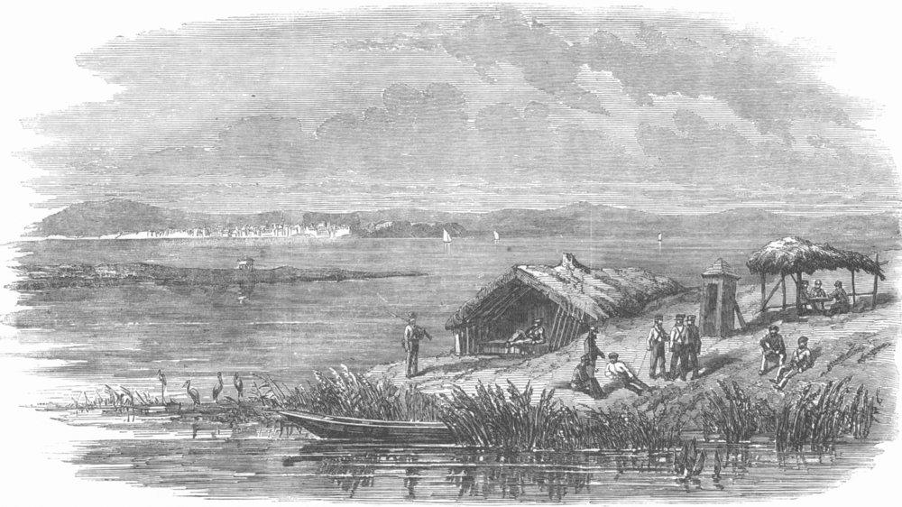 Associate Product ROMANIA. Sketch, Danube, Giurgiu, opposite Rousse, antique print, 1853