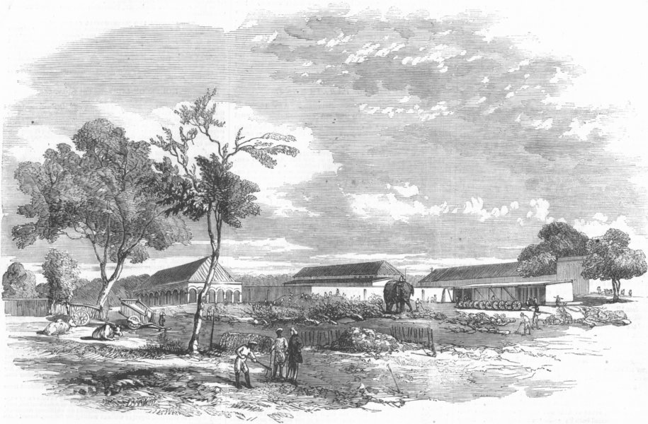 Associate Product INDIA. Defensive Operations, Artillery Lab, Meerut, antique print, 1857
