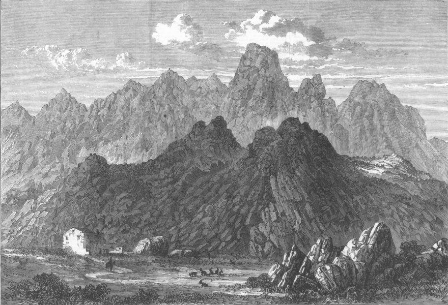 Associate Product FRANCE. Mont St Antoine, Corsica, antique print, 1864