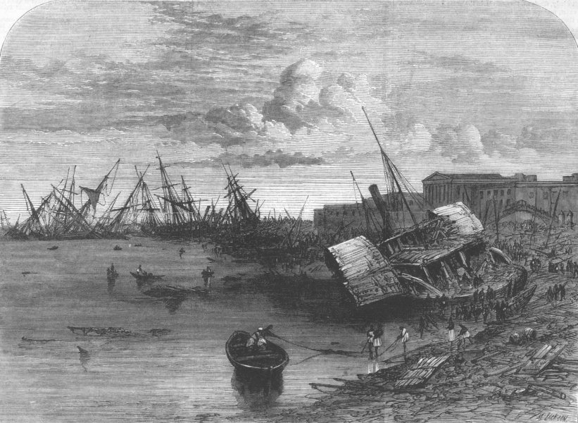 Associate Product INDIA. Effects of Cyclone, Kolkata, 5th of October, antique print, 1864