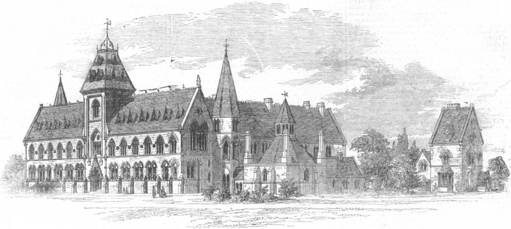 Associate Product OXON. South-West view of University Museum, Oxford, antique print, 1855