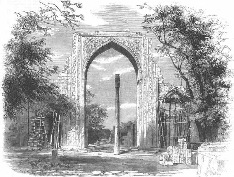 Associate Product INDIA. Ruined Arch Kotub Minar, Delhi, antique print, 1857