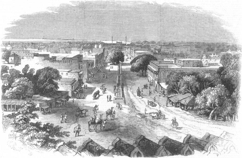 Associate Product INDIA. Chandnee Chauk (Silver-Street), Delhi, antique print, 1857