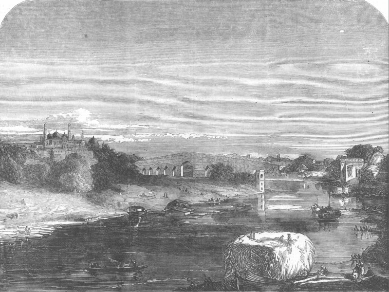 Associate Product INDIA. Lucknow. Goomtee, bridges, antique print, 1857