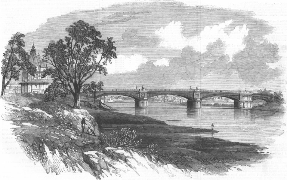 Associate Product INDIA. Iron Bridge Across Goomtee, Lucknow, antique print, 1859