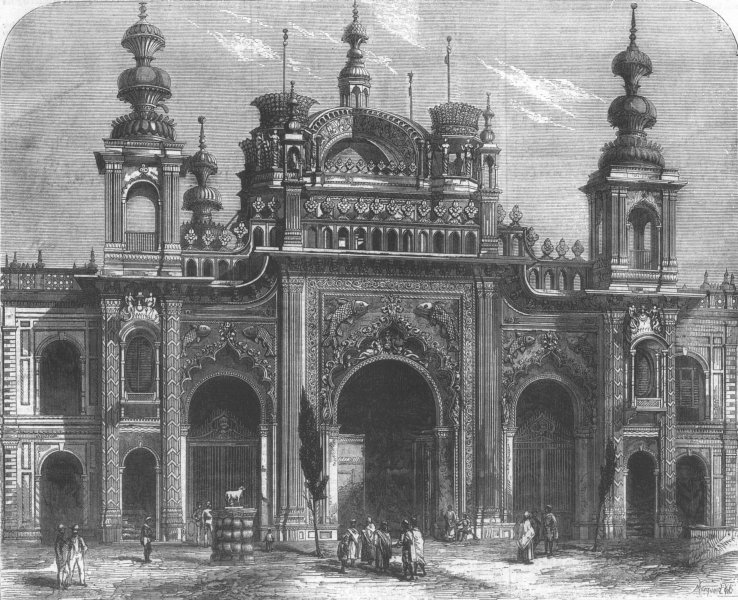 Associate Product INDIA. Gate of Kaiserbagh, Lucknow, antique print, 1859