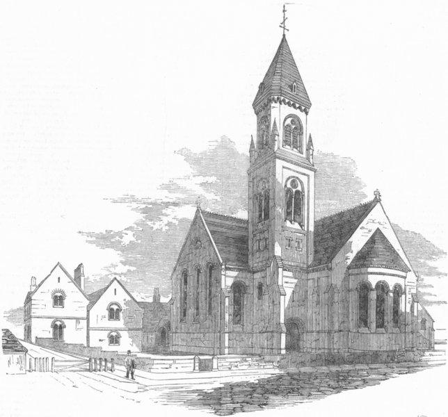 Associate Product KENT. St Paul's Church, Chatham, antique print, 1855