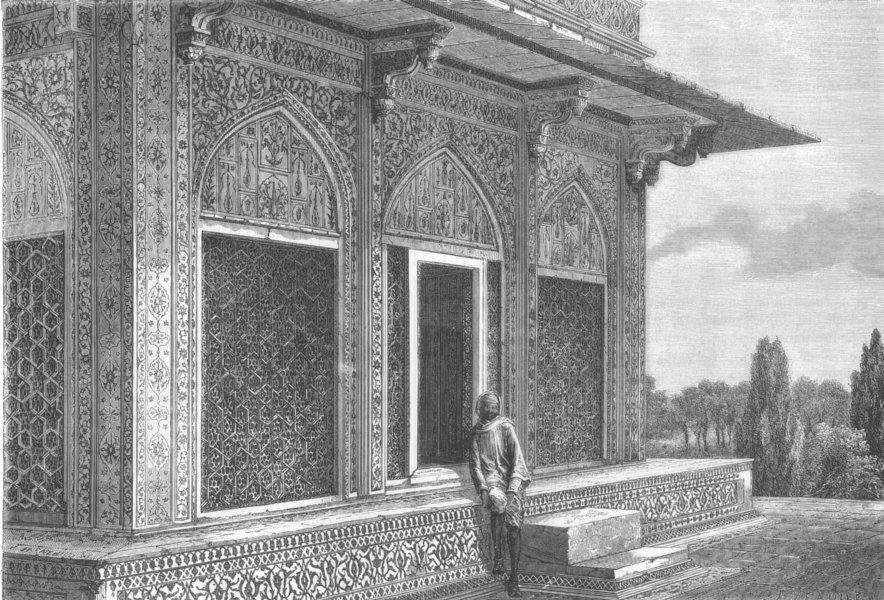 Associate Product INDIA. Upper Kiosk, Etmad-Dowlah Mausoleum, Agra, antique print, 1875