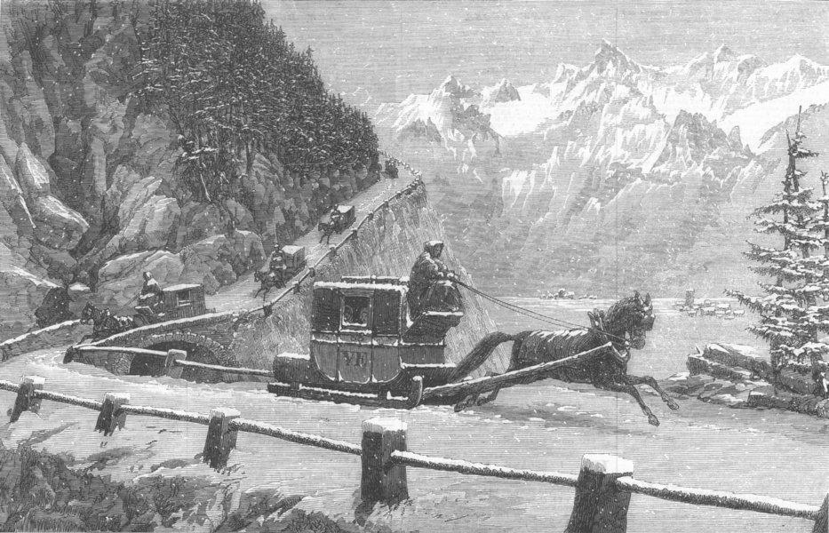 Associate Product FRANCE. Descending Mont Cenis, Winter, antique print, 1864