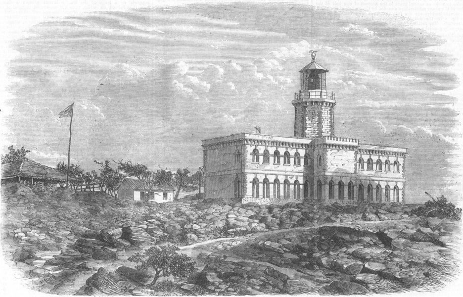 Associate Product INDIA. Lighthouse, Kennery Island, Mumbai, antique print, 1868