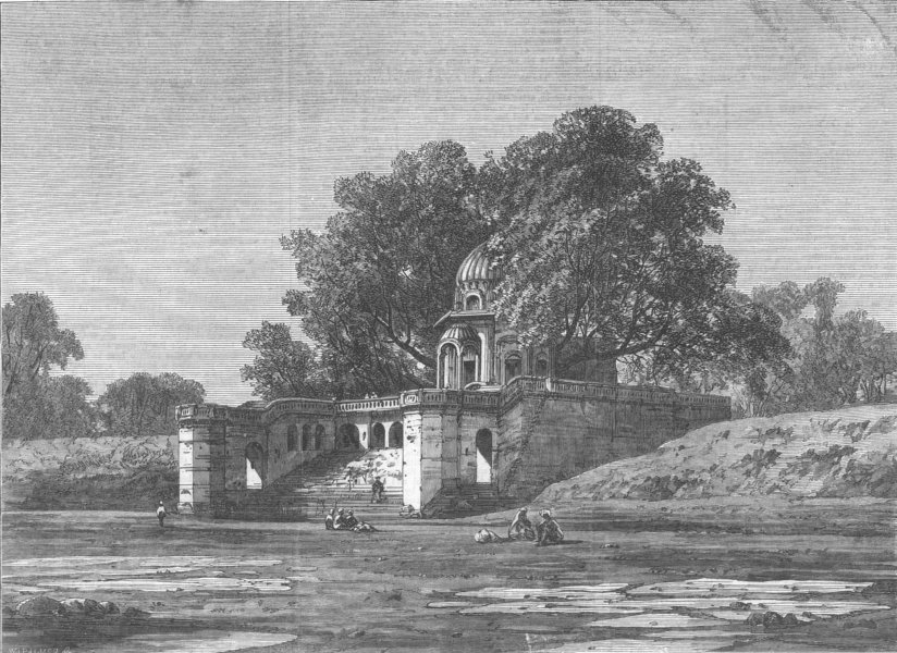 Associate Product INDIA. Massacre Ghat, Kanpur, antique print, 1868