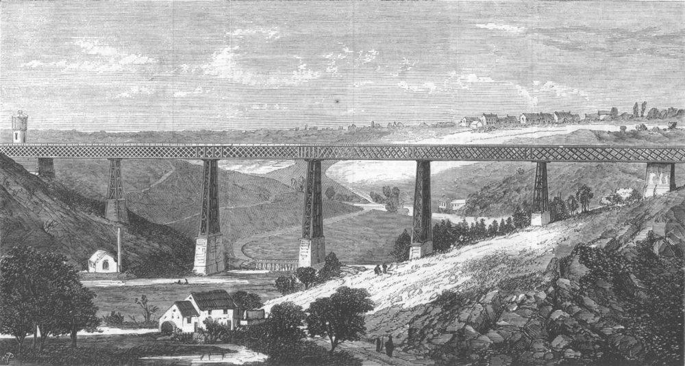 Associate Product FRANCE. Lattice Iron Viaduct, Ruisseau d'Alma, antique print, 1868