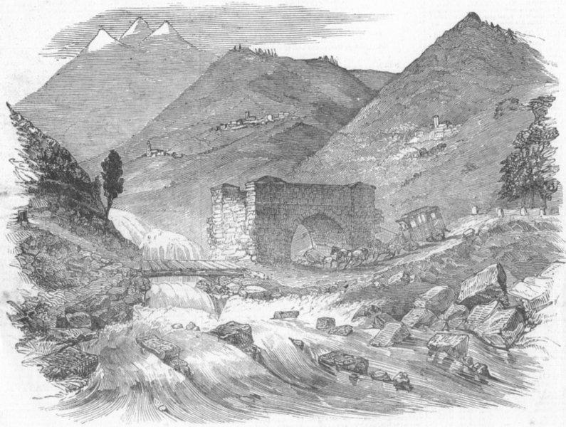 Associate Product SWITZERLAND. Destruction of Great Road over Simplon, antique print, 1849