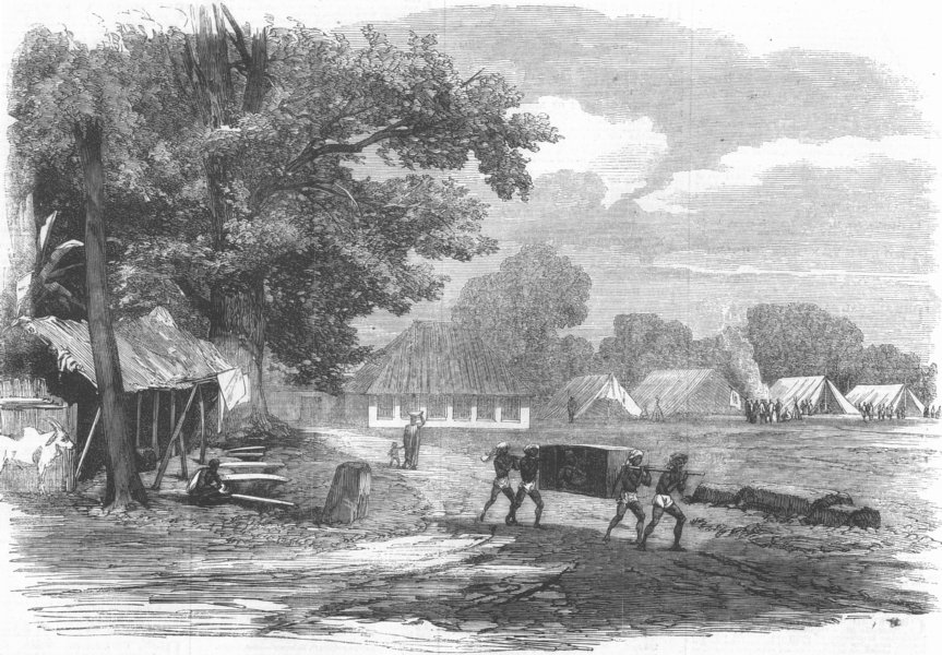 Associate Product INDIA. Cantonment at Barrackpore, antique print, 1862