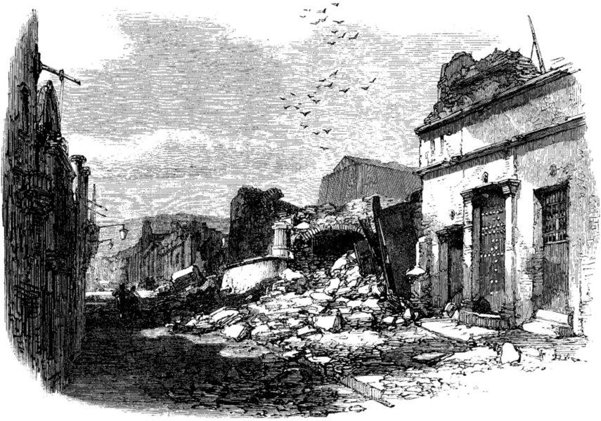 Associate Product PERU. Calle de las Recogidas, Arequipa, antique print, 1868