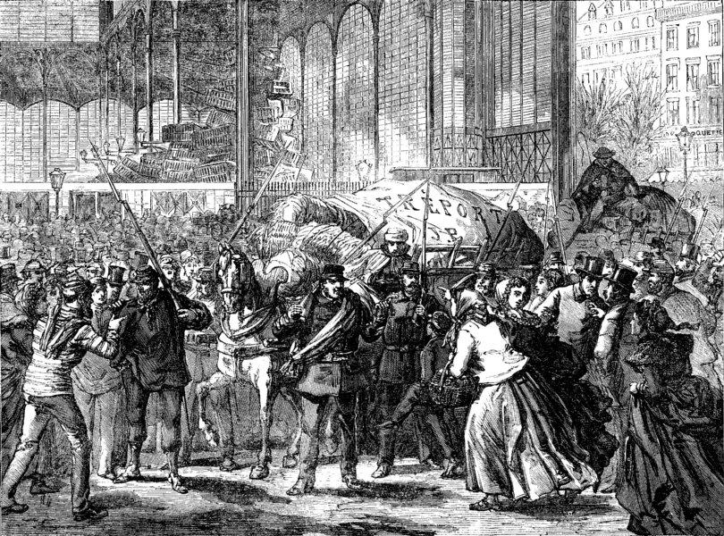 Associate Product FRANCE. Revictualling Paris. arrival of fish, Halles, antique print, 1871
