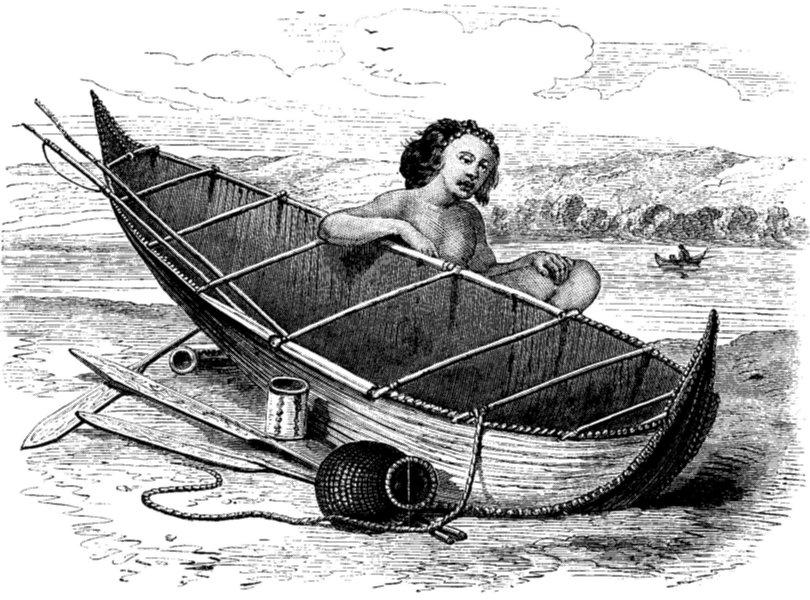 Chile Bark Canoe From Tierra Del Fuego Antique Print 1868