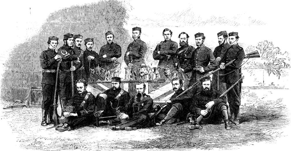 Associate Product INDIA. Winners, Kolkata Rifle Matches, Barrackpore, antique print, 1865