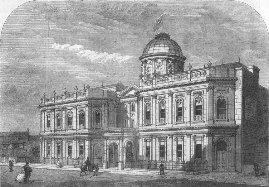 Associate Product LONDON. Oriental Baths, Victoria St, Westminster, antique print, 1862