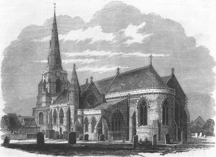 Associate Product NORTHANTS. Church of Holy Sepulchre, Northampton, antique print, 1862
