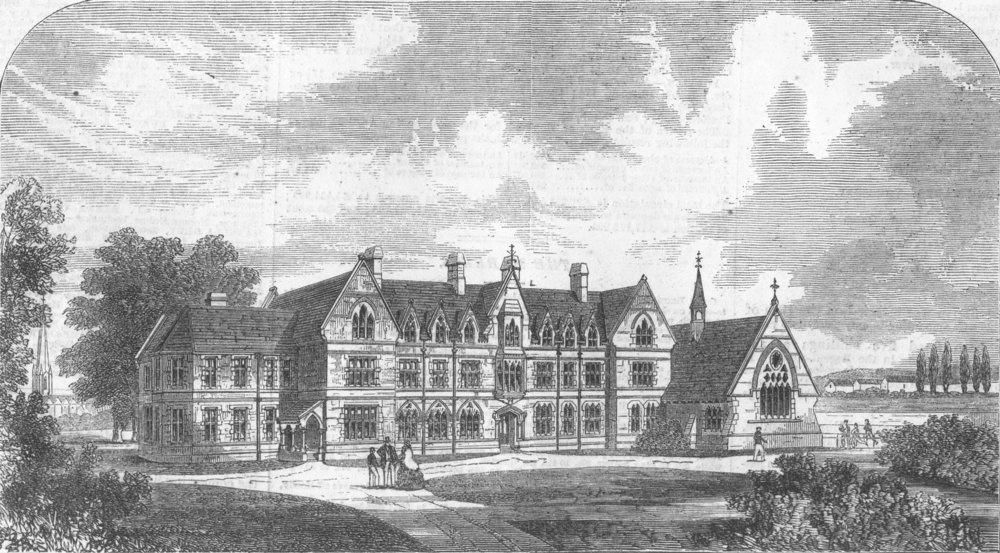 Associate Product LONDON. The Godolphin School, Hammersmith, antique print, 1862