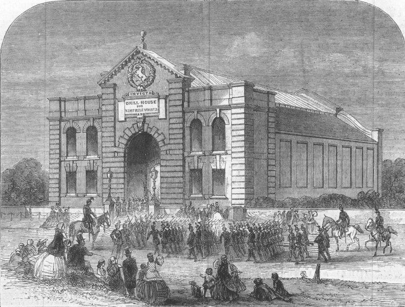 Associate Product LONDON. Drill-Shed, Blackheath, built by Capt Rucker, antique print, 1862