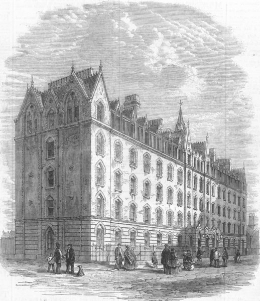 Associate Product LONDON. Model Houses, Columbia-Square, Bethnal-Green, antique print, 1862