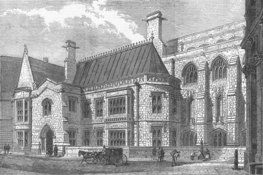 Associate Product LONDON. The new City Corporation Library, Guildhall, antique print, 1872
