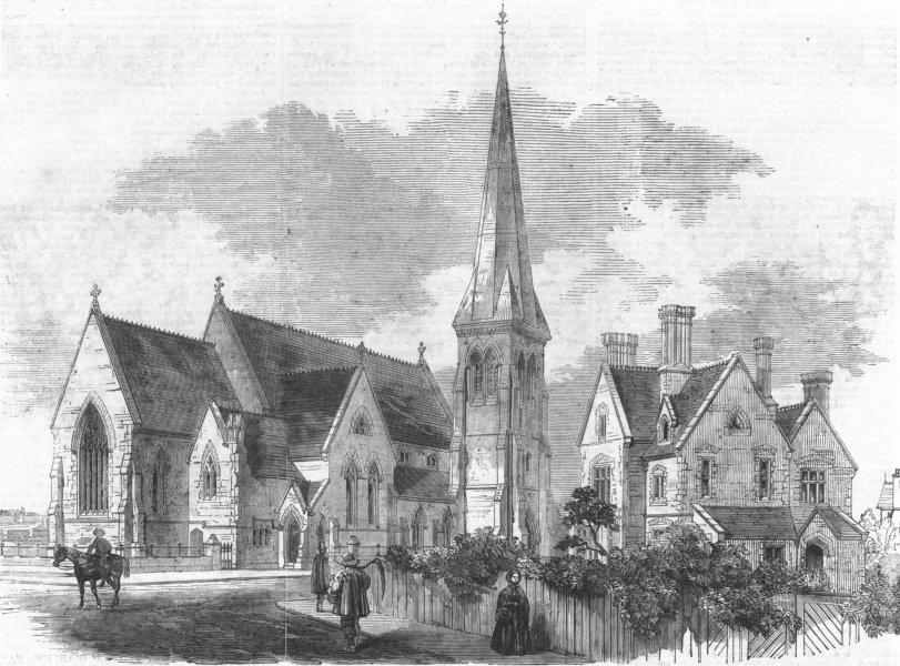 Associate Product St Mark's church, Wray Park, Reigate, Surrey, antique print, 1861
