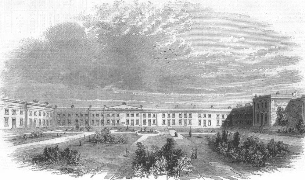 Associate Product LONDON. The Albert Wing, Asylum, Old Kent Road, antique print, 1858