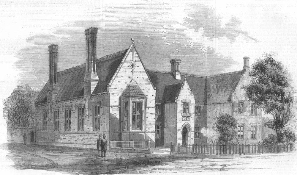 NORFOLK. new Gresham Grammar School at Holt, Norfolk, antique print, 1858