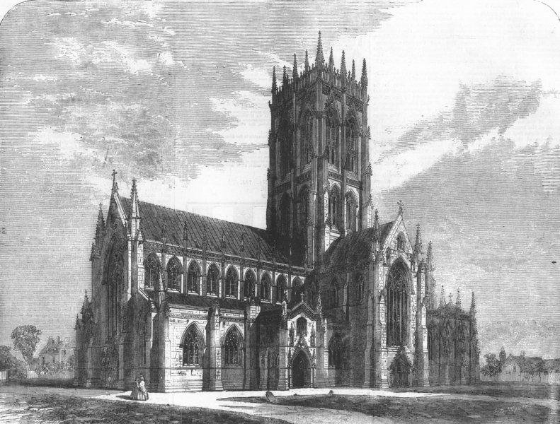 Associate Product YORKS. Doncaster Church, antique print, 1858