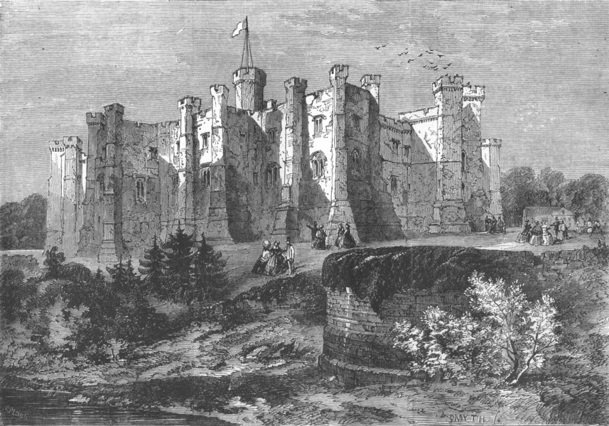 Associate Product DURHAM. Brancepeth Castle, Durham, antique print, 1858