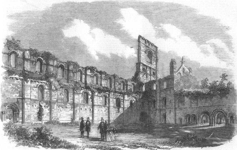 Associate Product YORKS. Queen, Leeds-Cloister Ct, Kirkstall Abbey, antique print, 1858