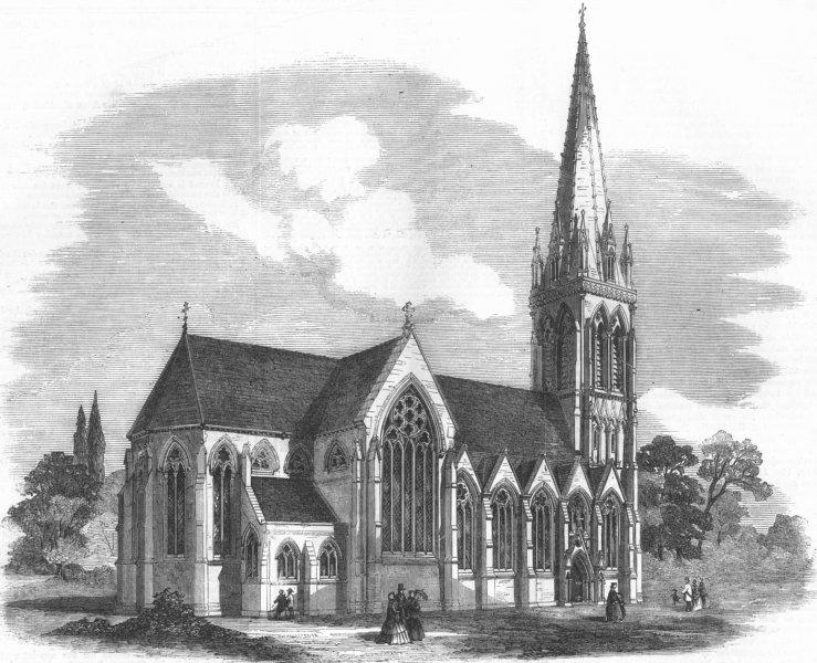Associate Product LONDON. New Church of St Mary, Stoke Newington, antique print, 1858