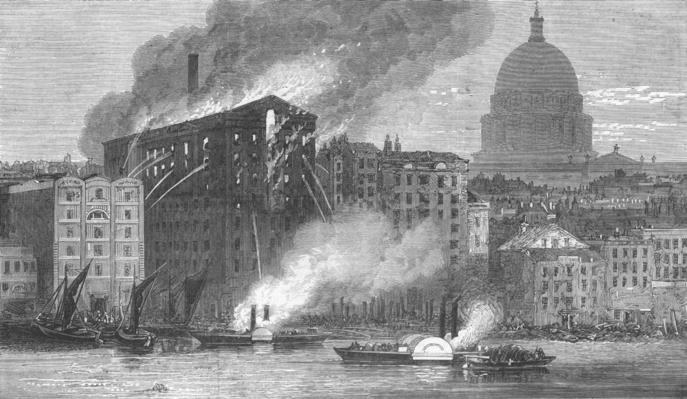 Associate Product LONDON. fire at city Flour Mills, Upper Thames St, antique print, 1872