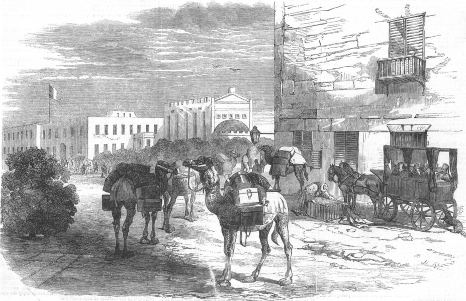 Associate Product EGYPT. Indian & Australian mails at Alexandria, antique print, 1853