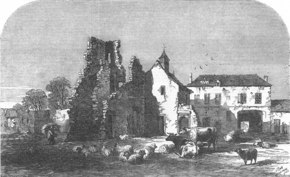 Associate Product BELGIUM. Hougoumont, on the field of Waterloo, antique print, 1853