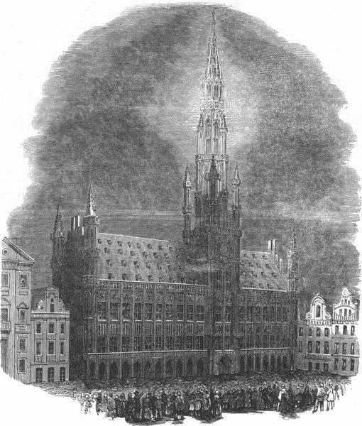 Associate Product BELGIUM. The Hotel De Ville, Brussels, Illuminated, antique print, 1853