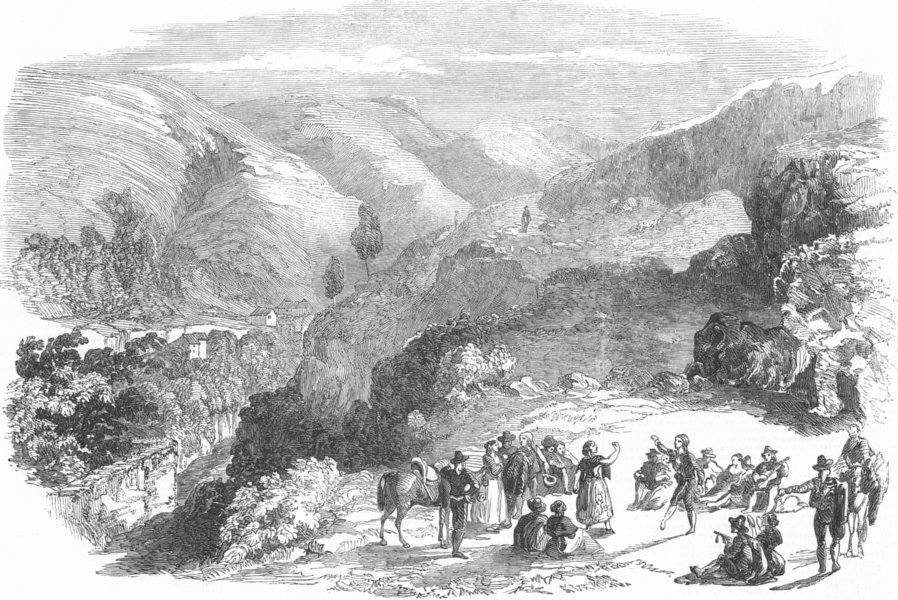Associate Product SPAIN. Burfords new view of Granada-Valley of Darro, antique print, 1853