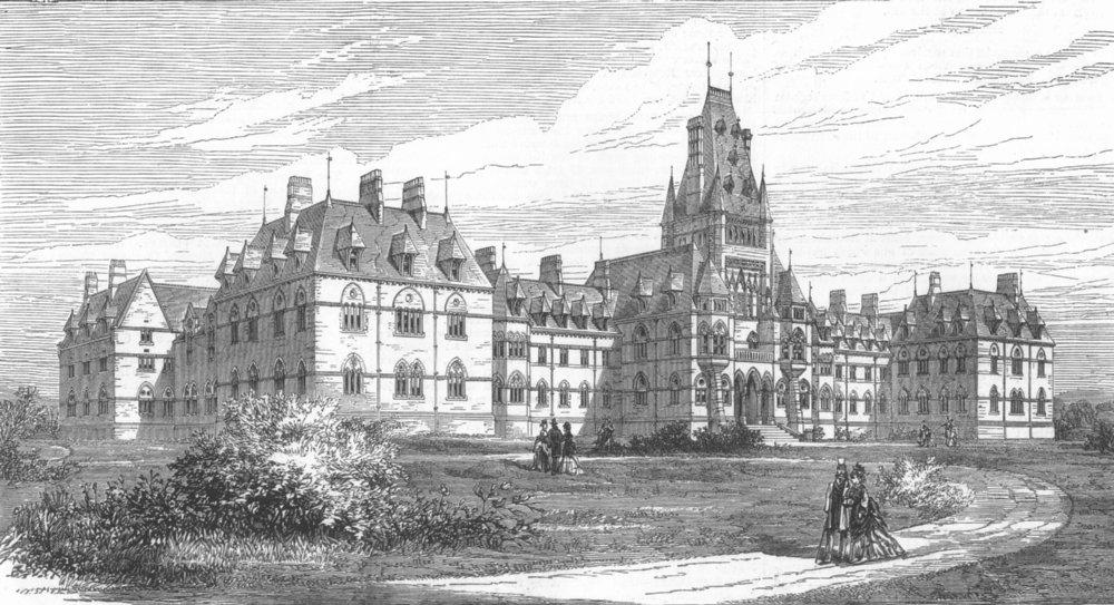 Associate Product LANCASHIRE. Royal Albert Asylum for Idiots, Lancaster, antique print, 1876