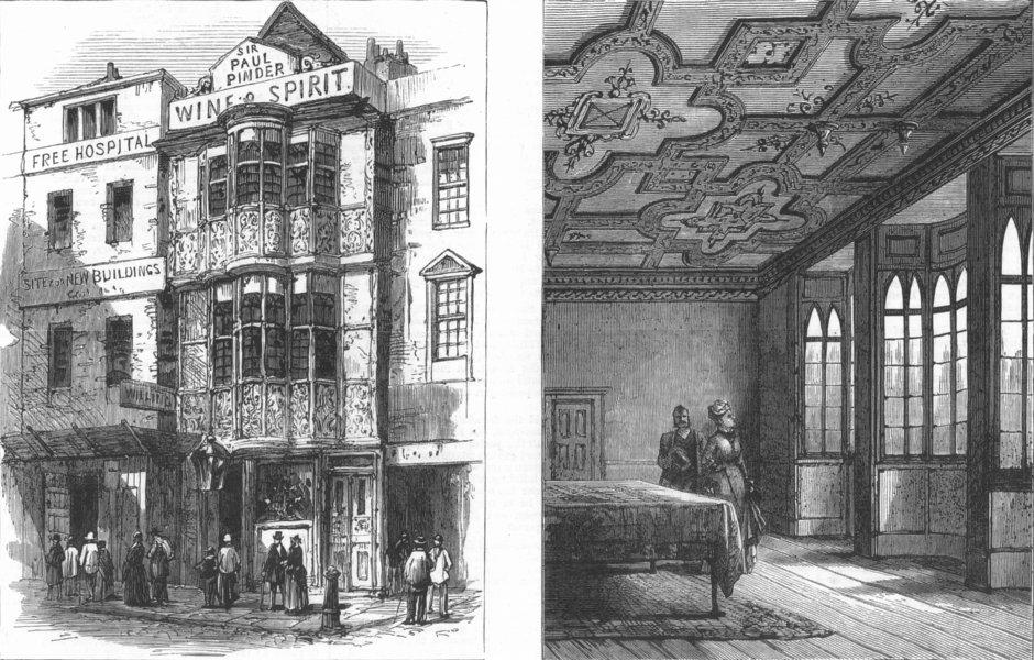 Associate Product LONDON. Sir Paul Pindar's House, Bishopsgate-Street, antique print, 1878