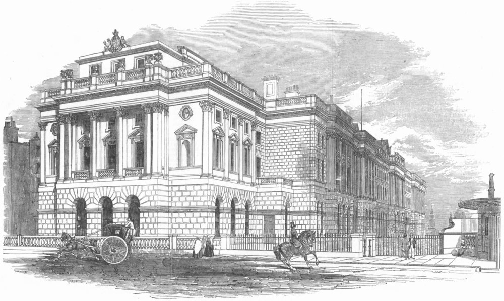 Associate Product LONDON. The new(West) wing of Somerset House, antique print, 1853