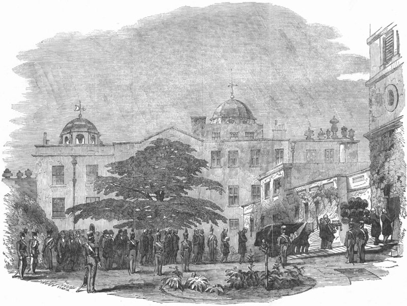 Associate Product GLOS. Funeral of the Duke of Beaufort, at Badminton, antique print, 1853