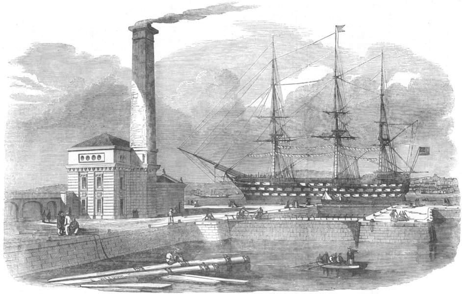 Associate Product DEVON. Entry dock and pump-house, Keyham Steam-Yard, antique print, 1853